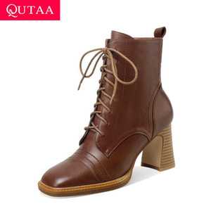 QUTAA 2021 Square High Heel Autumn Winter Short Boots Quality Cow Leather Ankle Boots Square Toe Lace Up Women Shoes Size 34-41