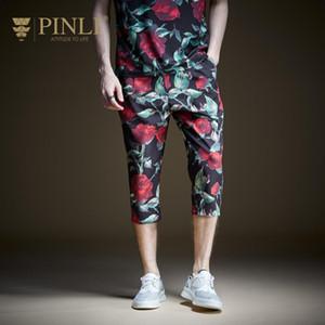 Pinli 2020 Summer New Discount Clearance Slim Pencil pants Rose Printed Casual men Polyester Capri pants Beach pant High quality 0930