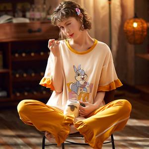 Kadınlar Basit pijamalar Pijama Bayan Short Sleeve Pijama Bayanlar Homewear Sevimli Karikatür Tavşan Lounge Wear için Pamuk Pijama