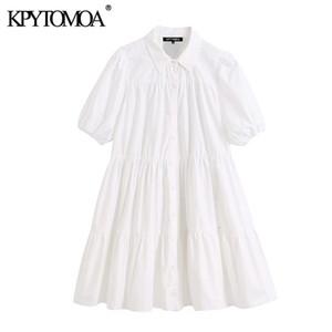 Kpytomoa Frauen Süße Mode Rüschen weiß Minikleid Vintage Revers Kragen Hauchhülse Weibliche Kleider Chic Vestidos Mujer 200922