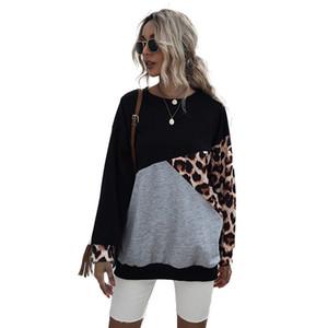 Frauen Hoodies Sweatshirt-Druck O-Ansatz Maxi-Pullover Langarm-beiläufige lose Pullover 2020 Frauen Leopard Print Tops