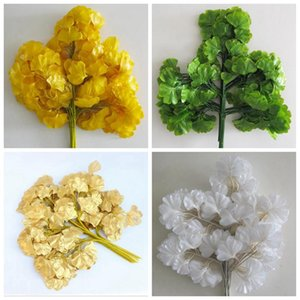 Simulation Ginkgo Biloba Leaf 5 Branch Ginkgo Artificial Tree Branches Fake Leaves Wedding Garden Decoration 4 Colors Yw193