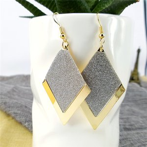 European and American fashion creative diamond-shaped frosted geometric earrings female simple girl auricle jewelry earrings wholesale