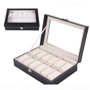 12 Grids Fashion Watch Storage Box PU Leather Black Watch Case Organizer Box Holder for Jewelry Display Collection