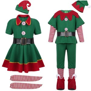 2020 Green Elf Girls Christmas Costume Festival Santa Claus for Boy Girls New Year Children Clothes Elegant Dress for Christmas