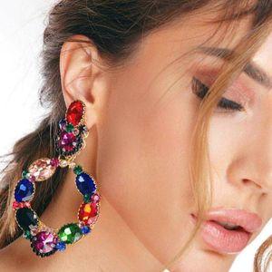 Women Drop Earrings Silver Fashion Classic Lady Big Brand Design Glass Drill Heart Stud Earrings Colorful Statement Earring Jewelry Gifts