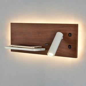 Topoch USB Настенный светильник с телефона Беспроводное зарядное устройство Shelf Integral 7W LED подсветкой с 3W Reading Light Независимым Switching