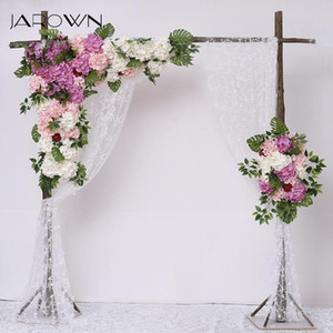 JAROWN Simulation Hydrangea Rose Flower Row Outdoor Wedding Party Arch Decoration Design Floral Set Hotel Background Decor Fleur