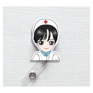 Cute Korea Badge Reel Retractable Pull Buckle Id Card Badge Holder Reels Belt Clip Hospital School Office Supplies sqcmRN wphome