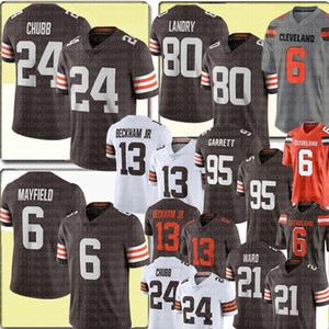 Новый 24 ник Chubb 6 Baker Mayfield Jersey 80 Jarvis Landry 95 Myles Garrett Jersey Mens 21 Denzel Ward 13 Odell Beckham Jr. Футбольные майки