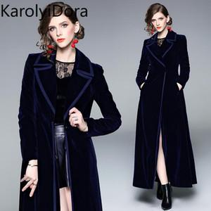Women's coat Winter Runway Designer Women Vintage Notched Collar Wrap Black Velvet Maxi Coat Thick Warm Long Trench Outwear