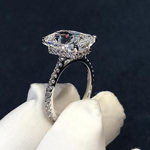 Corte radiante artesanal 3ct laboratório diamante anel 925 esterlina de prata bijou anéis de banda de casamento para mulheres nupcial partido jóias