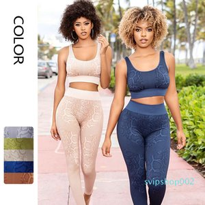 Fashion Women Yoga Set European and American Snake Pattern Tracksuits Sports Vest + High Waist Leggings Workout Suit Size S-L