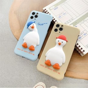 Three dimensional duck with crooked head for iPhone11 pro max xr xs Apple 7   8plus lovers soft shell silicone protective cover