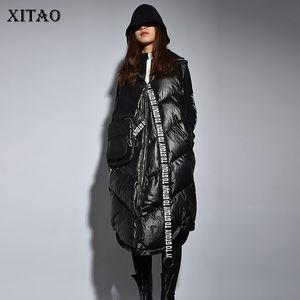 Xitao Streetwear Moda Donna Inverno nuovo giro-giù il collare completa manica maglia femminile Patchwork [pcker Lettera Vest ZLL2158 201028