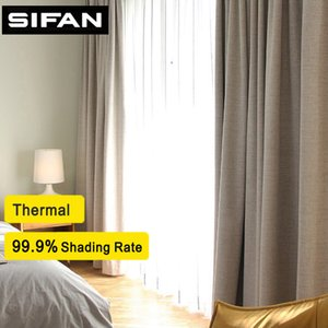 100% Shading rate Faux Linen Blackout Curtain for Living Room Modern Curtain for the Bedroom Curtain for Kids Custom Made LJ201224