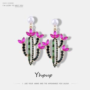 Yhpup neue bunte Kristallperlen baumeln Ohrringe für Frauen-Partei Statement nette elegante modische Ohrringe Schmuck Brincos
