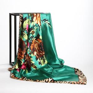 패션 Kercheif 실크 새틴 Hijab 스카프 여성을위한 꽃 표범 인쇄 헤드 스카프 90 * 90cm 사각형 Shawls 목 스카프 숙녀를위한
