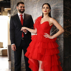 Festival Red One Shoulder Prom Dresses with Feathers Capped Sleeve Celebrity Party Evening Gowns Long Sweep Tiered Vestidos De Novia 2021