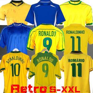 1998 Brasil 축구 유니폼 2002 레트로 셔츠 Carlos Romario Ronaldo Ronaldinho 2004 Camisa de Futebol 1994 브라질 2006 1982 Rivaldo Adriano