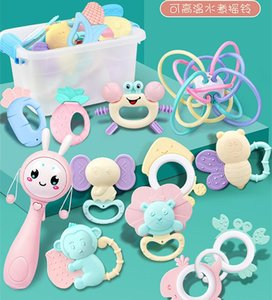 Baby toys 0-1 year old Baby Hand Rattle Gum Newborn Kids Early Education Molars Boiled Bed Bell Set Gifts