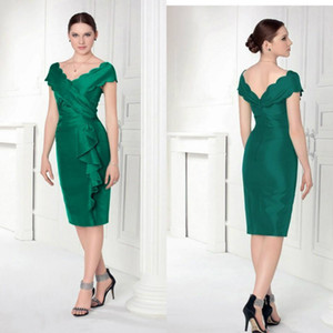 Hunter Green Mother of The Bride Dresses Cap Sleeves V Neck Ruffles Design Elastic Satin Mothers Dress Formal Knee Length Evening Gowns
