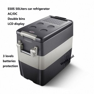 50L AC / Car DC12V24V Frigorifero auto Freezer più fresco di campeggio portatile Mini Frigo compressore Frigorifero Fridge 7U2C #