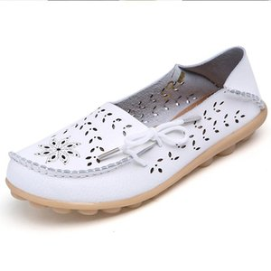 Big Size 34-44 2020 Spring Women Flats Shoes Women Genuine Leather Flats Ladies Shoes Female Cutout Slip on Ballet Flat Loafers
