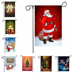 47*32cm Christmas Hanging Flag Flax Santa Door Banner Merry Christmas Outdoor Ornament Xmas Decorations Home Xmas New Year Gift LJJP671