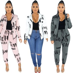 Brief Printed Designer Womens Tracksuits stehen Kragen beiläufige Cargidan Damenmode 2-teiliges Set Herbst-Winter-Damen Kleidung