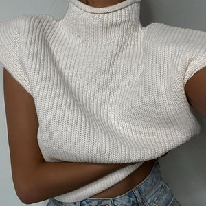 Turtleneck Sleeveless Vest Sweater Women 2020 With Shoulder Pads Knitted Pullover Autumn Winter Fashion Jumper Casual Tops
