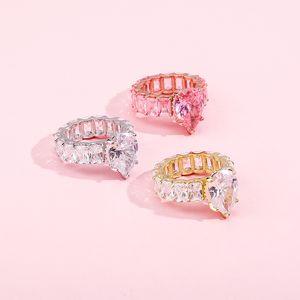 Hip hop water drop drop cz anelli moda prezzo tagliato full cubic zircone band wedding ring ingaggiamento anelli dito anelli donne gioielli 372 G2