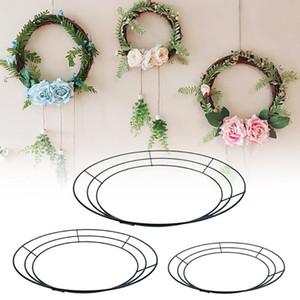 1 pz 12 '' / 14 '' / 16 '' floreale metallico filo corona cornice del fiore artificiale per il decoro della parete del contesto di nozze di Natale