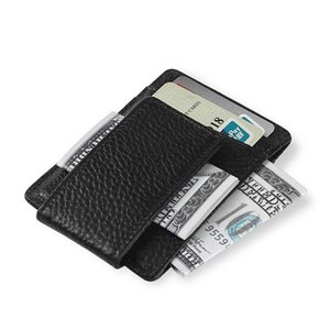 High Quality Cow Pebbled Leather Men Business Money Clips Fashion Card Case Card Package Aumsi