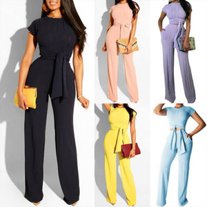 Fashion Women 2 Piece Set Summer Clothes Office Lady Solid Short Sleeve T shirts Pants Two Piece Set Female Outfits