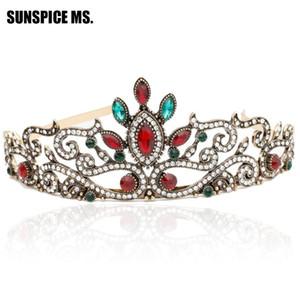 Sunspice-MS Vintage Fas Kadınlar Düğün Tiara Taç Geleneksel Kafa Takı Prenses Kraliçe Çiçek Hairwear