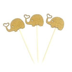 Wholesale 10pcs Cute Elephant Cupcake Toppers Baking Plug-in Dress up Elephant Birthday Cake Decor Wedding Party Decoration Supplies DHF4018