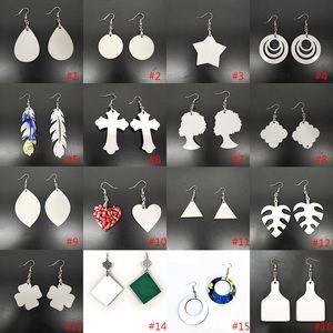 Bricolage sublimation blancs boucles d'oreilles boucles d'oreilles concepteurs cadeaux de fête de fête de la Saint-Valentin pour femmes 16 style xd24352