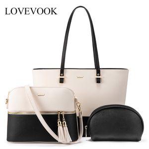 LOVEVOOK shoulder crossbody bags for ladies large tote bag set 3 pcs clutch and purse luxury handbag women designer Q1106