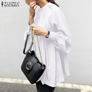 Fashion Pleated Shirts Women's Spring Blouse ZANZEA 2020 Casual Back Button Blusas Female Puff Sleeve Tops Plus Size Solid Tunic