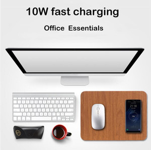 10W Wireless Charger For iphone 12 samsung Fast Charging USB PU+Wooden Mouse Mice Pad For PC Laptop 30x22CM