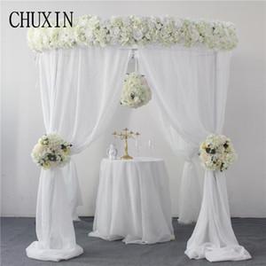 2M Luxuxhochzeitsgeschenk Künstliche Blumenbogen Dekoration Blume Reihe Hauptdekor gefälschte Kugelhochzeitsempfang Tisch Straße führen