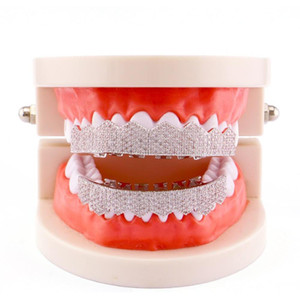 2020 Inlaid Zircon Two-color Electroplating Hip Hop Top Coat And Bottom Teeth Grille Fashion Christmas Gift Hip-hop sqccGI new_dhbest