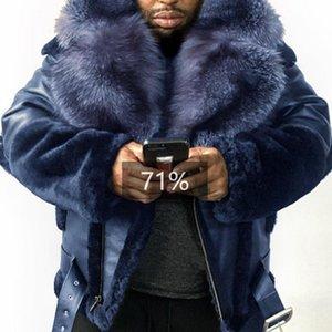 Plus Size Lederjacke Mann-Winter-Mode Pelz Revers-Kragen-Gurt beiläufiger fester PU Langarm-Herren Mantel Lugentolo