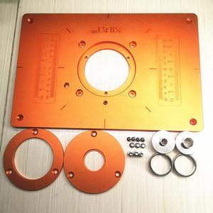 Routeur aluminium Table Insert Plaque avec anneau électrique en bois de fraisage Rogneuse plaque Flip pour machine à bois Gravure