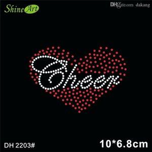 Frete grátis personalizado camiseta com alegria no coração Bling cristal rhinestone motivo para vestidos DH2203 #