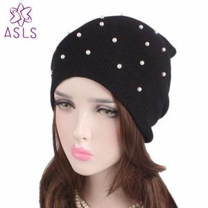 2020New Wholesale New Winter Hat Women Knitted Hat pearled beaded knit beanie women cap Warm Bonnet Beanie caps
