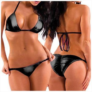 Sexy Women Two Piece PU Leather Bikini Swimsuit Mini Triangle Thongs Bra Tops,Lacing Adjust Cute Bathing Bikinis Set Swimwear