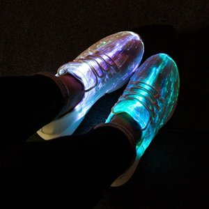 Size25-46 Fiber Optic Fabric Light Up Shoes 11 Colors Flashing Teenager Girls&Boys USB Rechargeable Luminous Sneakers With Light