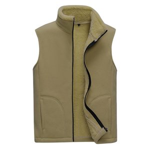 2021 men's new stand-up collar double-faced fleece vest, fleece casual, warm solid color vest 8XL